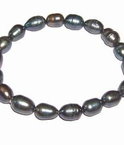Bratara din perle de cultura, negre, pe elastic