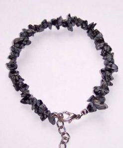 Bratara din obsidian cu inchizatoare metalica