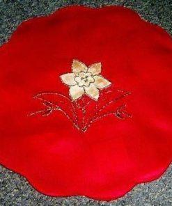 Element de decor cu floarea Craciunului - rosu