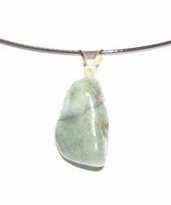 Pandantiv din cristal de smarald pe colier fix