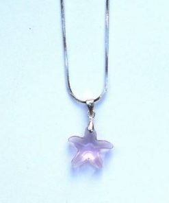 Pandantiv din cristal de Swarovski in forma de steluta roz