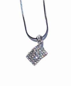 Zar din metal cu cristale Swarovski, pe lant argintiu