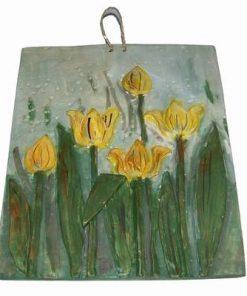Tablou din ceramica lucrat manual - lalele galbene