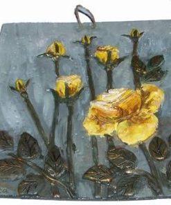 Tablou din ceramica lucrat manual - trandafiri galbeni
