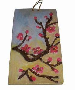 Tablou din ceramica lucrat manual - Floarea de piersic