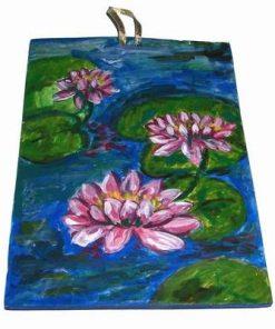 Tablou din ceramica lucrat manual - flori de lotus