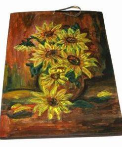Tablou din ceramica lucrat manual - floarea soarelui