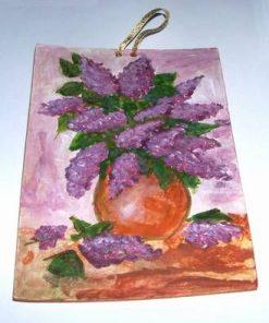 Tablou din ceramica lucrat manual - liliac