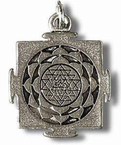 Shri Yantra - Talisman din metal cu agat pe siret negru