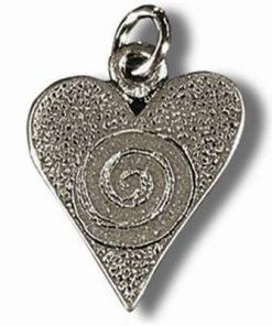 Inima si Spirala - Talisman din metal cu agat pe siret