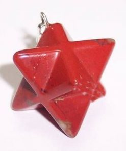 Pandantiv din cristal de jasp roscat - Merkaba - ARGINTAT